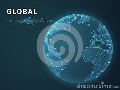Abstract modern business background vector depicting globality with stars and lines in shape of a Planet Earth on blue background