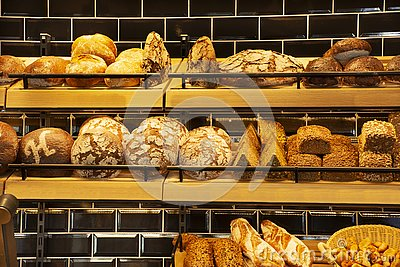 Bakery bread shop and cafe for sale at heidelberger market in Heidelberg, Germany