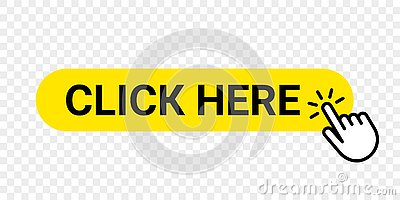 Click here vector web button. Isolated website buy or register yellow bar icon with hand finger clicking cursor