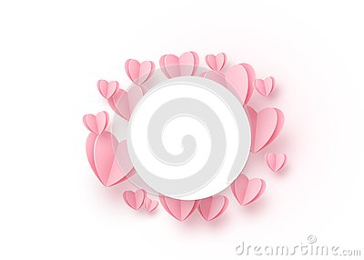 Heart round background with light pink paper hearts and circle white frame at the centre. Copy space. Love pattern for