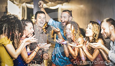 Multiracial happy friend having fun at new year`s eve celebration