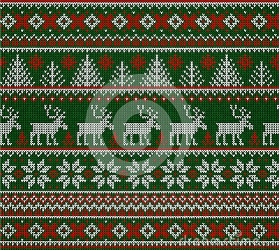 Ugly sweater Merry Christmas Happy New Year seamless pattern frame