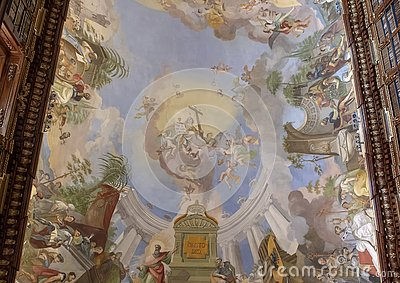 Partial view of ceiling fresco, Philosophical Hall, Strahov Monastery Library, Praque