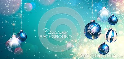 Blue Christmas Balls on Colorful Winter Background and Bengal Lights. Vector