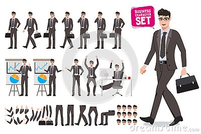 Business man vector characters set. Cartoon character creation of male office person