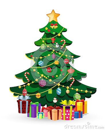 Cute cartoon decorated Christmas fir tree with many gifts and present boxes