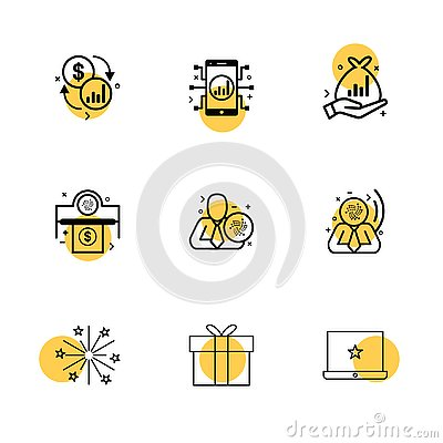 dollar , mobile , fire works , money , box , gift box , corporate , share , eps icons set vector