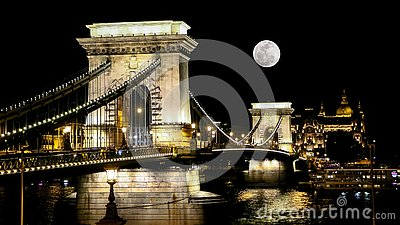 The Chain Bridge in Budapest at Moonrise