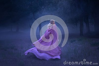 A gorgeous young elf princess with blond hair that flees in a forest full of white mist, dressed in a long, expensive
