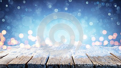 Winter Background - Snowy Table With Christmas Lights