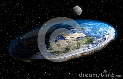 Flat Earth Theory 3D Illustration