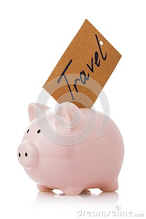 Accumulate travel money. Piggy bank with sticker isolated