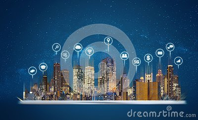 Digital tablet with modern buildings hologram and technology icons. Smart city, internet and networking smart technology