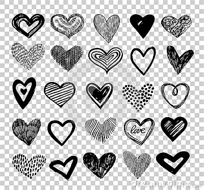 Doodle hearts. Hand drawn love heart icons. Scribble sketch valentine grunge hearts vector elements isolated on
