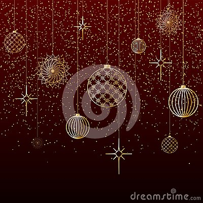 Christmas background Gold balls toys stars snow glitter on a red background A festive background for Christmas and New Year