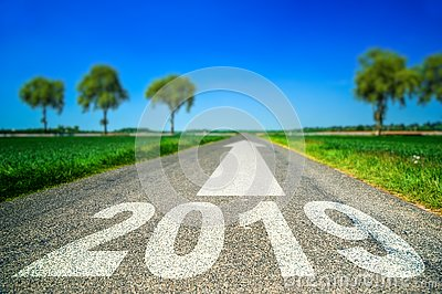 Future and destination concept - road marking in form of 2019 year and arrow