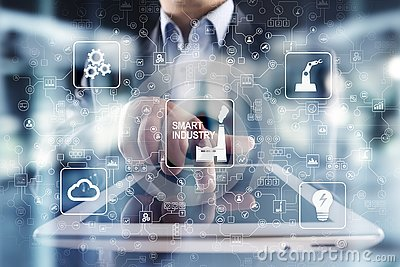 stock image of smart industry. industrial and technology innovation. modernization and automation concept. internet. iot.