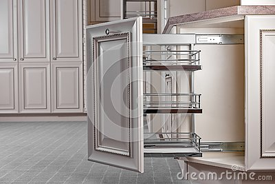 Home Interior. Kitchen - Opened Door with Furniture. Wood and Chrome Material, Modern Design
