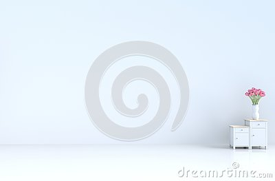 White empty room of love inValentine`s day and new year. 3D render.
