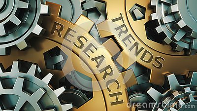 Business, Technology. Trends research concept. Gold and silver gear wheel background illustration. 3d render