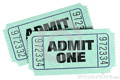 Two old green admit one tickets isolated white background