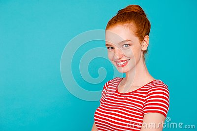 Profile side portrait of nice cute attractive cheerful girlish s