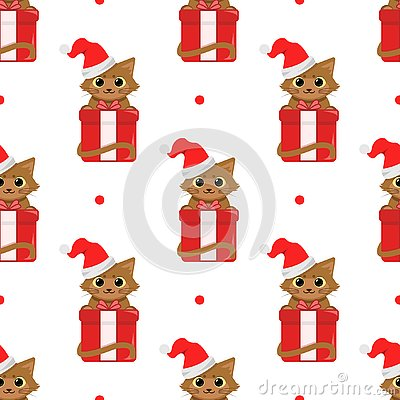 Cute cartoon cats with christmas gifts. Vector seamless pattern on white background.