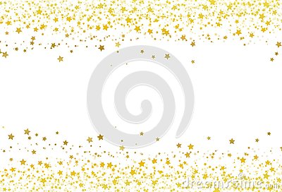 Stars scatter glitter confetti gold frame banner galaxy celebration party premuim product concept abstract background texture