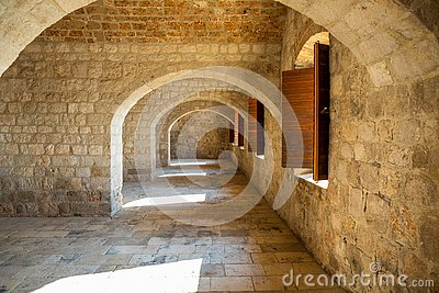 Dubrovnik, Croatia - 20.10.2018: Interior of Fort Lovrijenac, St. Lawrence Fortress building architecture in Dubrovnik