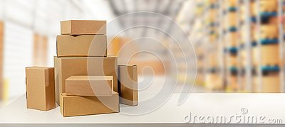 Cardboard boxes in warehouse ready for transportation