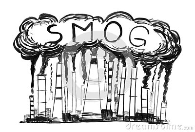 stock image of black ink grunge hand drawing of smoking smokestacks, concept of industry or factory air pollution or smog