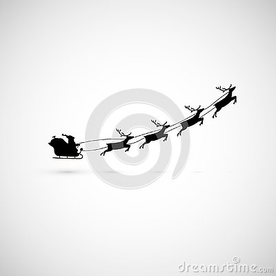 Santa on a sleigh with reindeers fly up. vector illustration