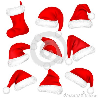 Christmas Santa Claus Hats With Fur Set, Sock. New Year Red Hat Isolated on White Background. Winter Cap. Vector