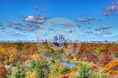 Center City Philadelphia Skyline with Fall Colors