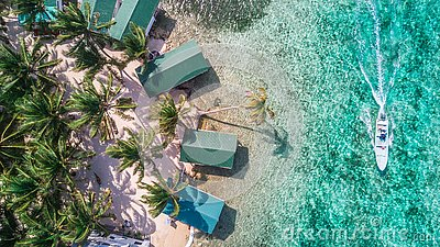Aerial drone view of Tobacco Caye small Caribbean island in Belize Barrier Reef