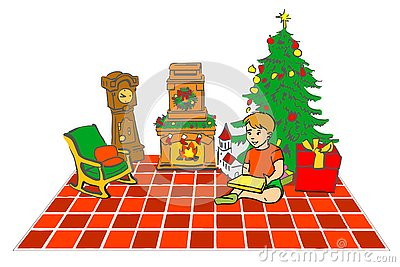 Hand drawn Christmas card. Vector sketch of boy in Christmas interior. Kid sitting near new year tree with gifts