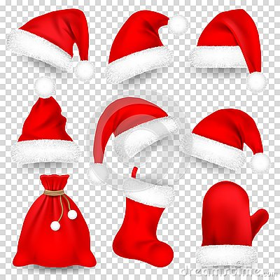 Christmas Santa Claus Hats With Fur Set, Mitten, Bag, Sock. New Year Red Hat Isolated on White Background. Winter Cap