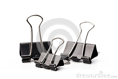 Black paper clips isolated on white background