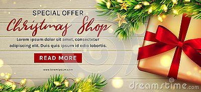Christmas sale web banner template. Vector.