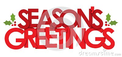 SEASON`S GREETINGS banner with holly motifs