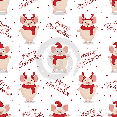 Vector seamless christmas pattern. Cute cartoon pigs on white background.
