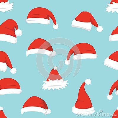 Santa hats background. Christmas seamless pattern vector. New year cartoon red hat.