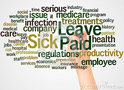 Paid Sick Leave word cloud and hand with marker concept