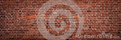 Empty old red brick wall background