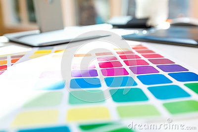 stock image of desk with graphic design tools