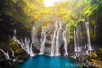 Cascade of Grand Galet in Langevin valley in La Reunion island, France