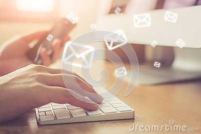 Email marketing and newsletter concept, Hand of man sending mess