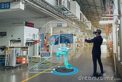 stock image of iot smart technology futuristic in industry 4.0 concept, engineer use augmented mixed virtual reality to education and training, r