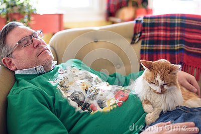 Man napping on couch with the cat during the holidays