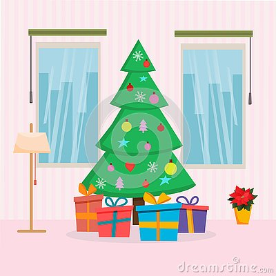 Christmas Home interior with tree, presents, window and lamp. Flat cartoon style vector illustration. Christmas and New Year cards